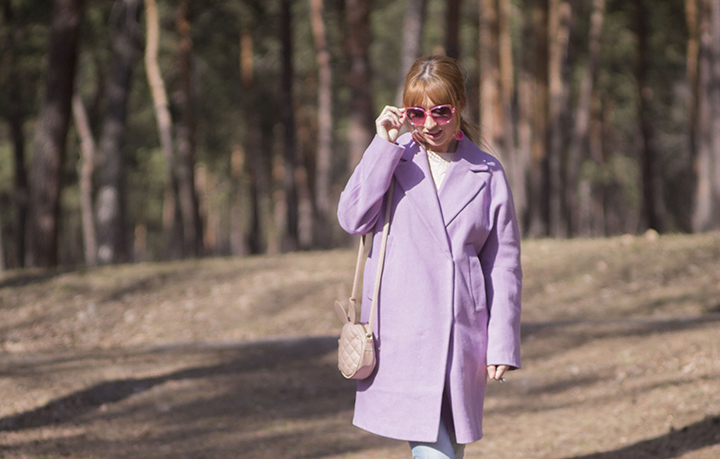 purple coat outfit