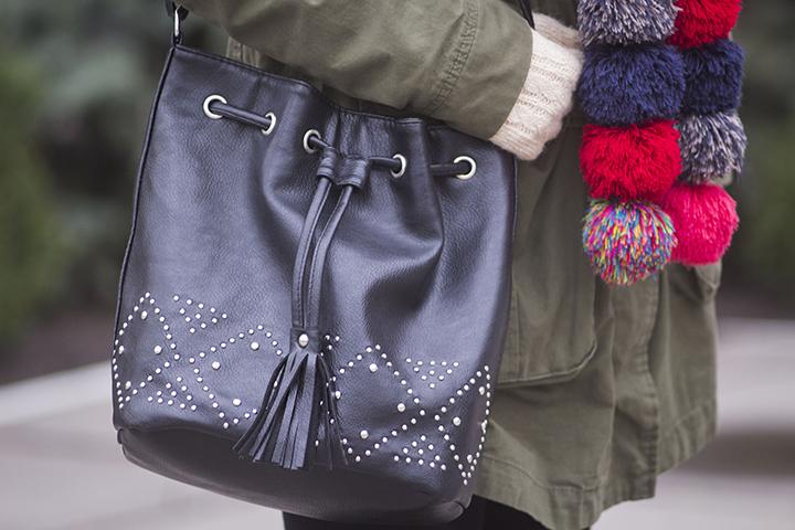 pom pom scarf outfit blog
