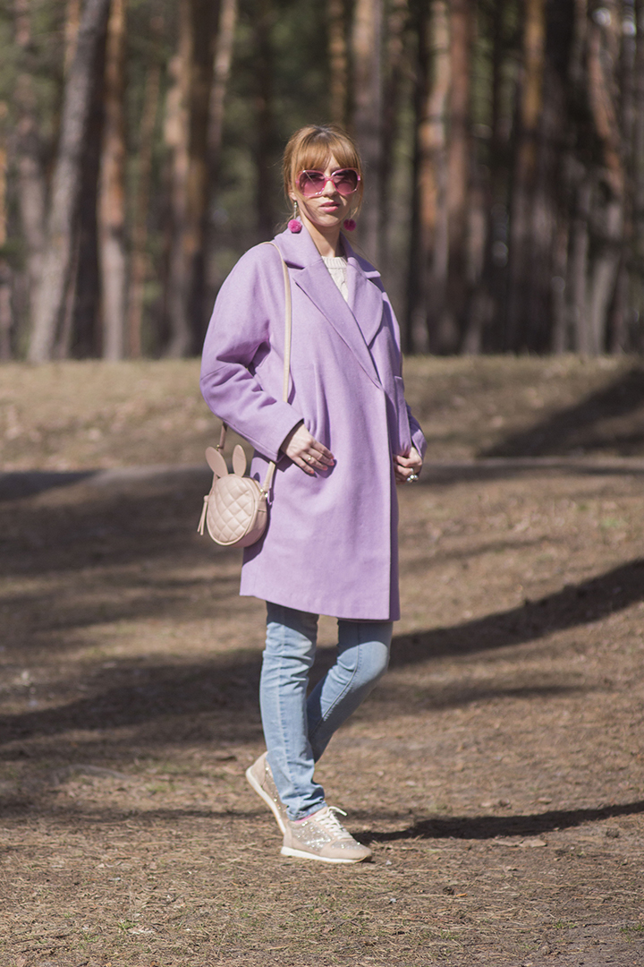 purple coat look
