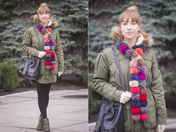 accessorize pom pom scarf