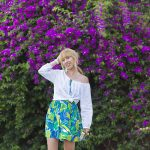 tropic skirt & metallic shoes