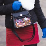 embroidery bag & fur scarf