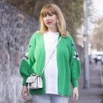 v neck green cardigan